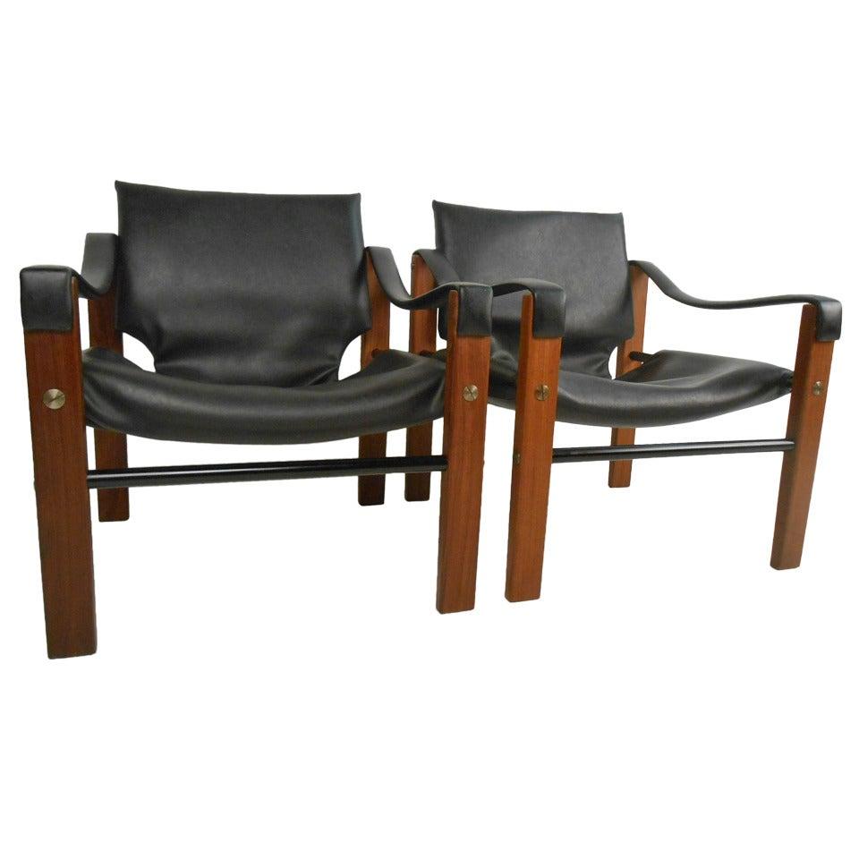 Pair of Mid-Century Modern Safari Chairs by Maurice Burke for Arkana