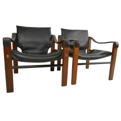 Pair of Mid-Century Modern Safari Chairs by Maurice Burke for Arkana