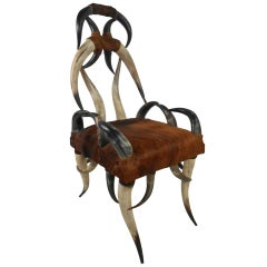 Rustic Longhorn Chair with Cowhide Upholstery