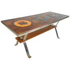 Vintage Modern Hand-Painted Tile Top Coffee Table