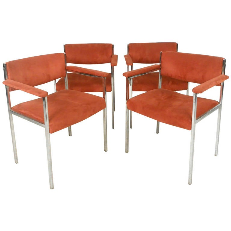 Set Of Vintage Suede Dining Chairs For