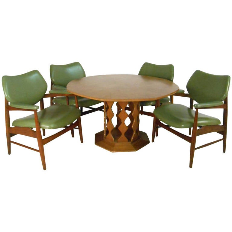Unique mid century danish dining table with chairs for for Unusual dining furniture