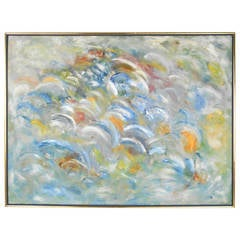 Vintage Abstract Wall Art, Acrylic Painting on Canvas