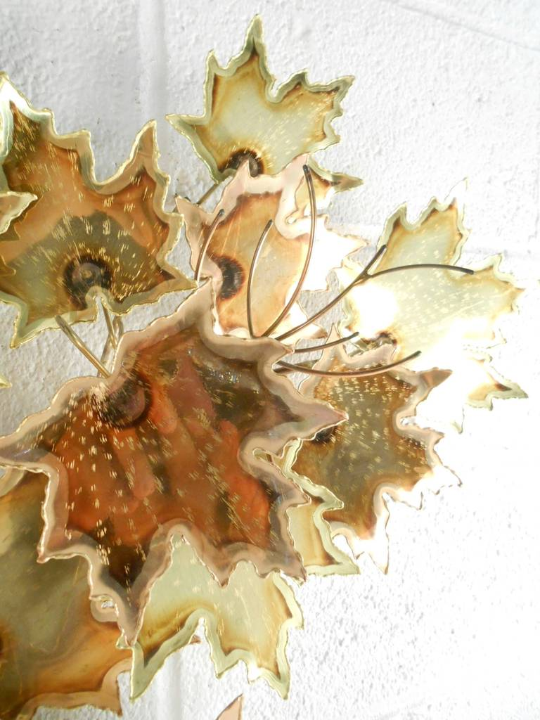 Curtis Jere Style Autumnal Metal Wall Art For Sale at 1stdibs
