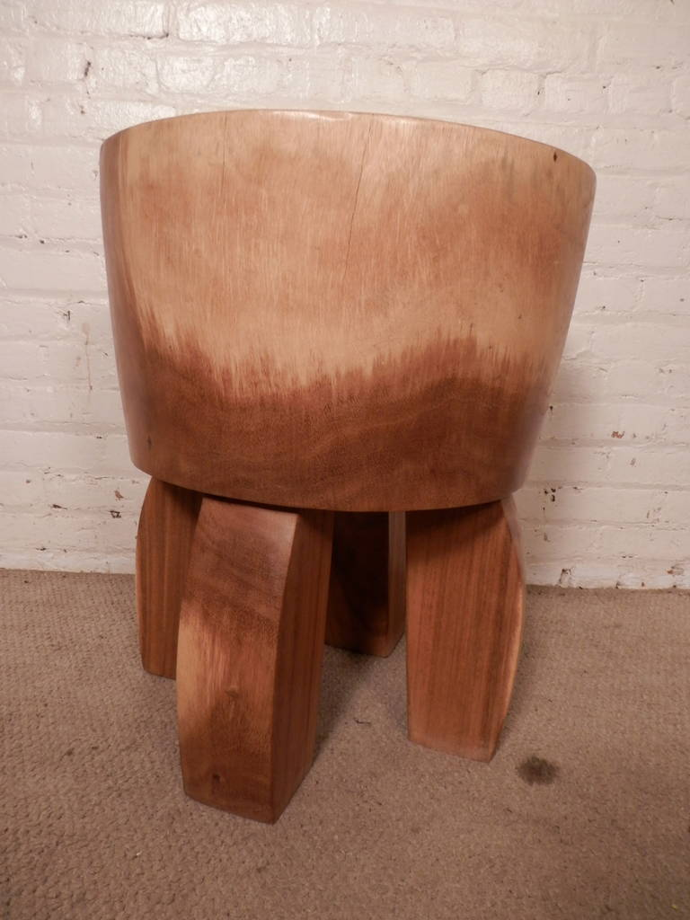 Mid century style solid wood stool for sale at stdibs