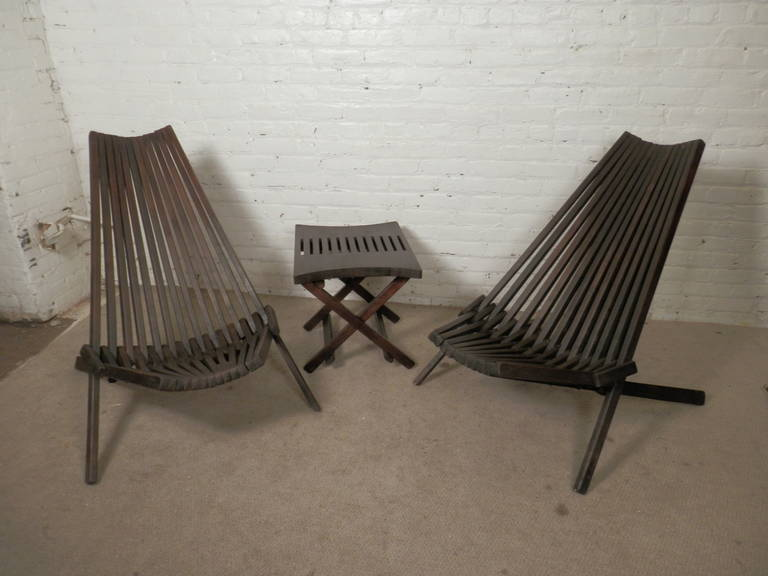 Mid Century Danish Teak Folding Chairs And Side Table At