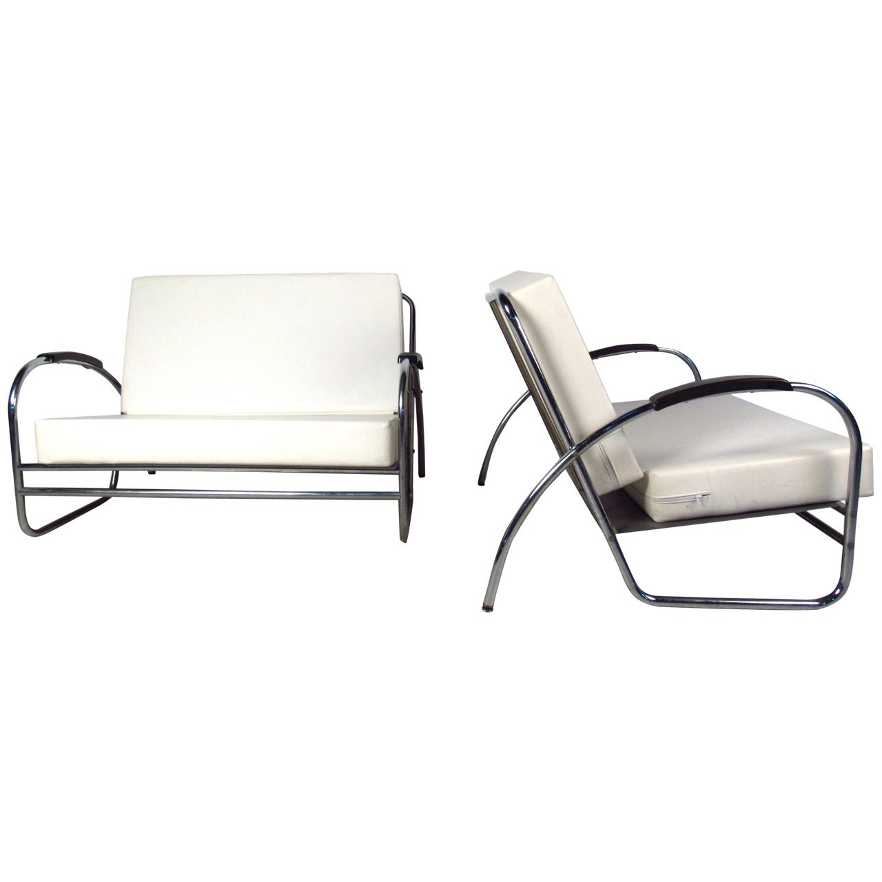 Pair of Vintage Modern Oversized Lounge Chairs by Royal Metal