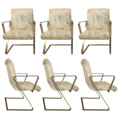 Set of Six Rare Brass Frame Chairs