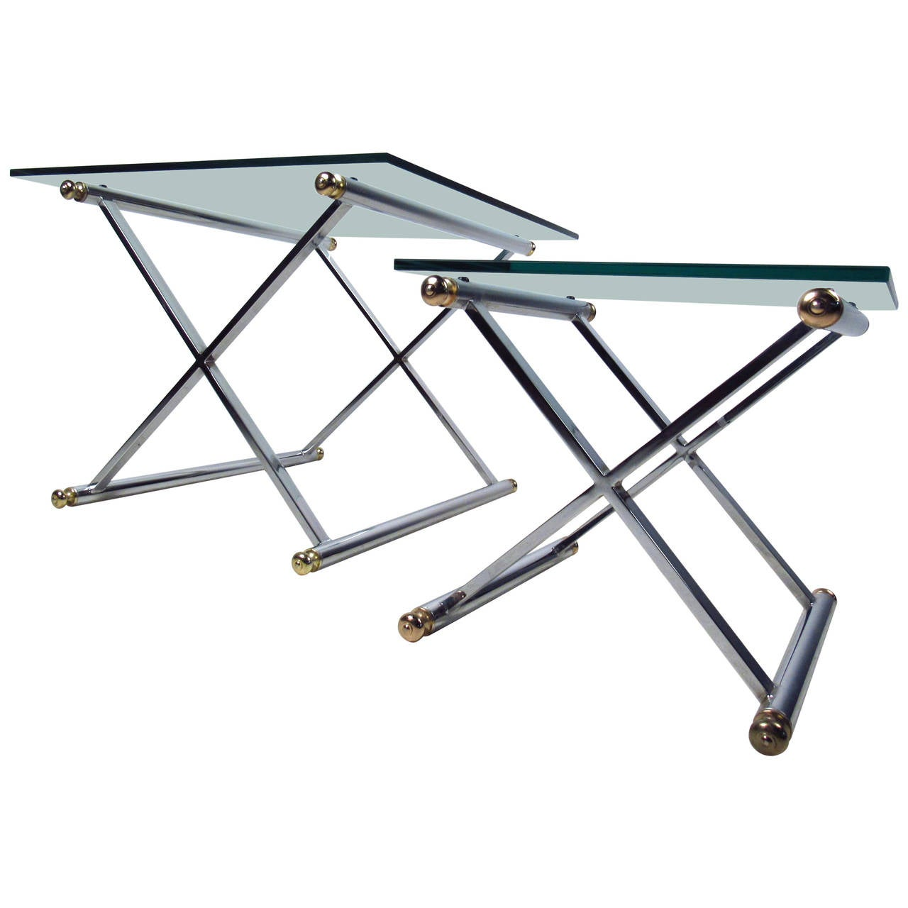 Pair of Mid-Century Modern Chrome and Brass End Tables For Sale