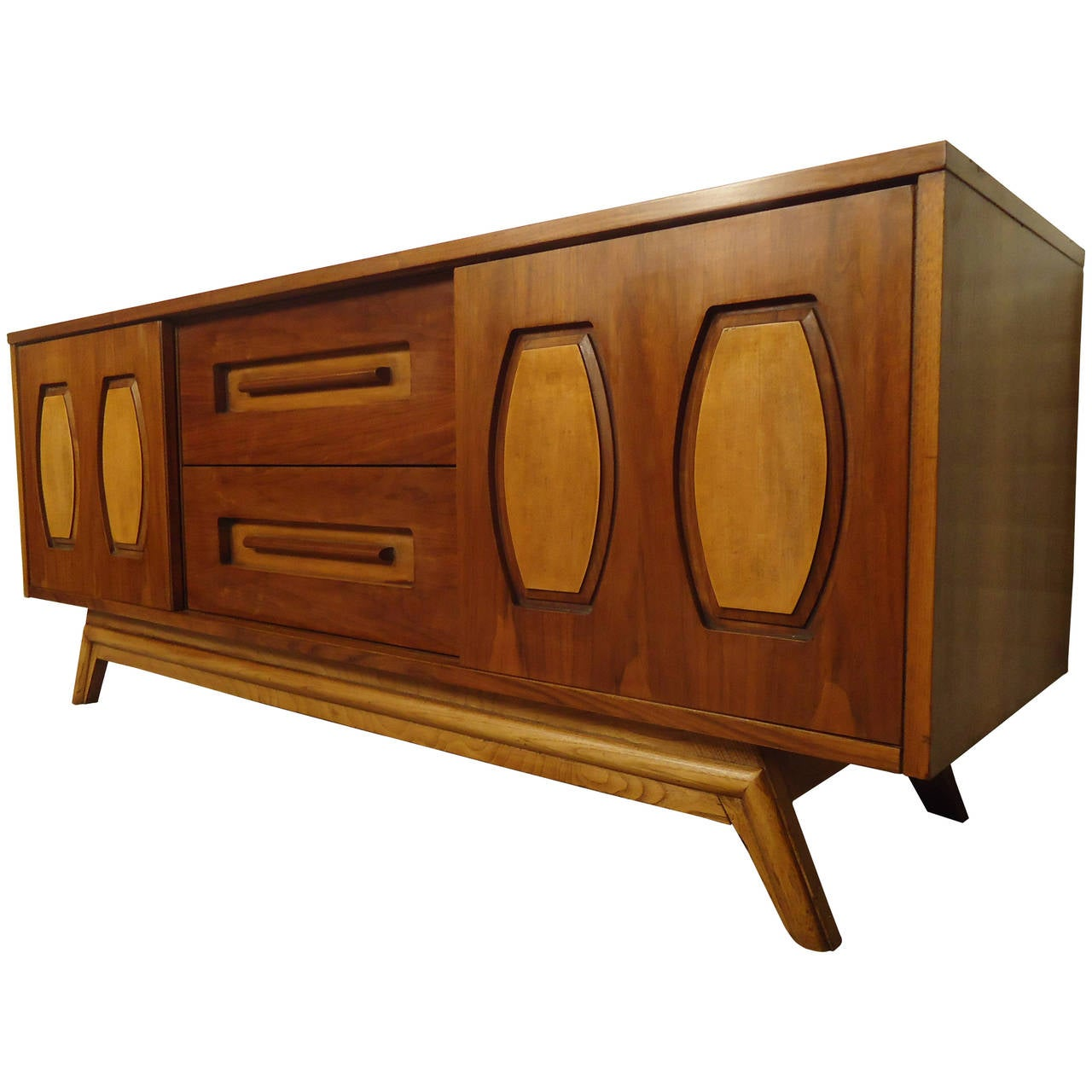 Mid Century Modern Walnut And Oak Credenza For Sale At 1stdibs