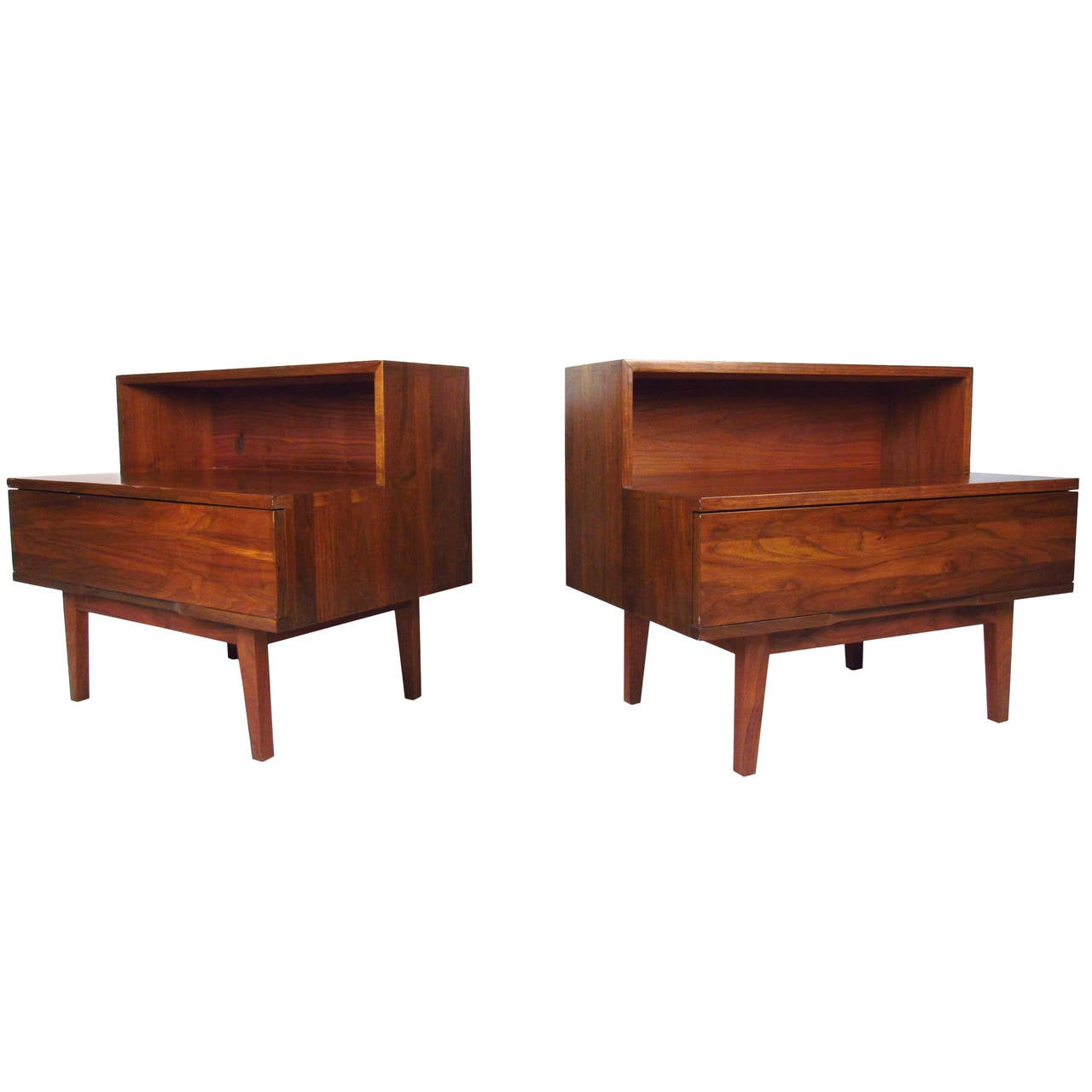 Two Tier Mid Century Modern Night Stands At 1stdibs