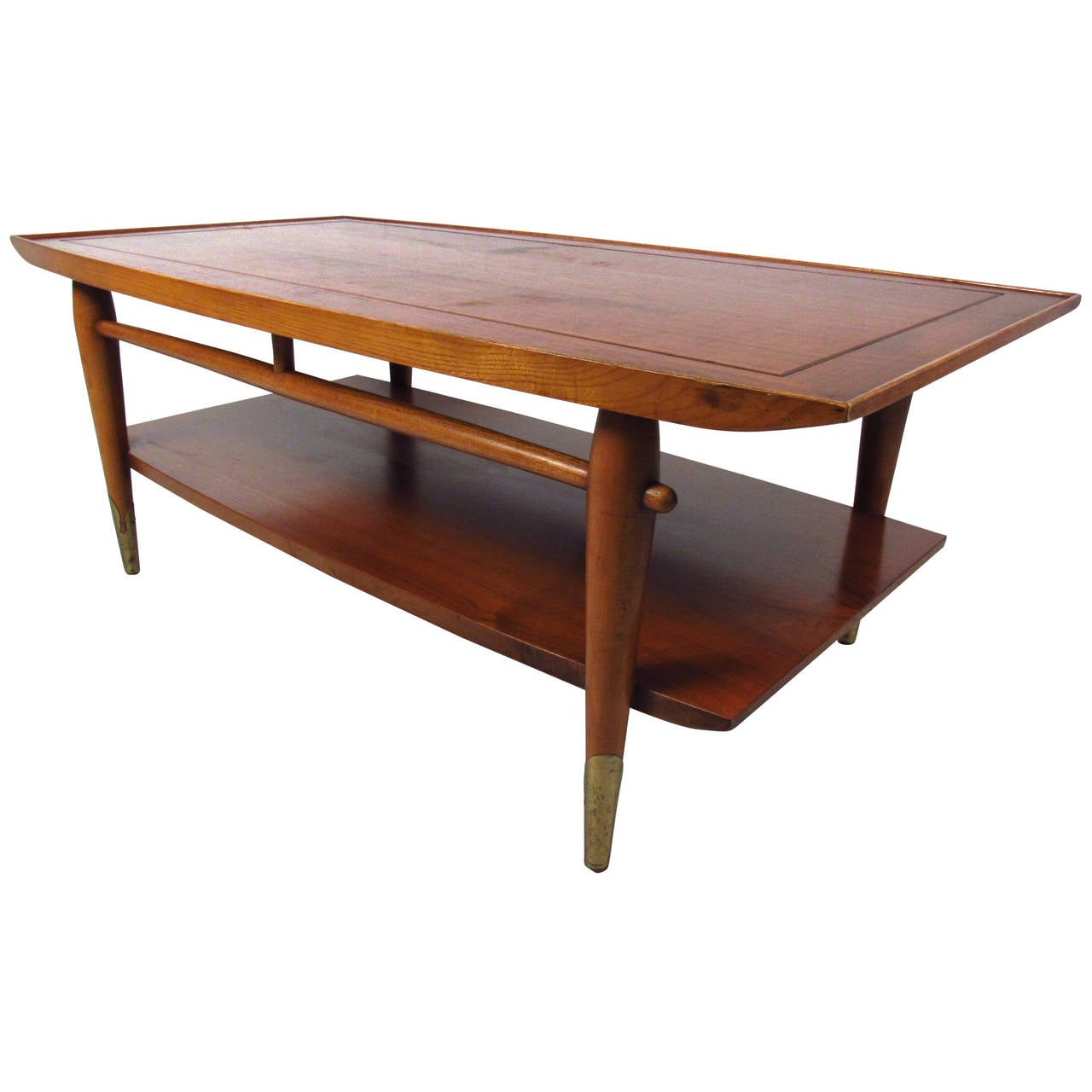 mid century modern two tier lane coffee table for sale at 1stdibs. Black Bedroom Furniture Sets. Home Design Ideas