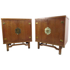 Pair Of Mid Century Modern End Tables With Ornate Brass Hardware