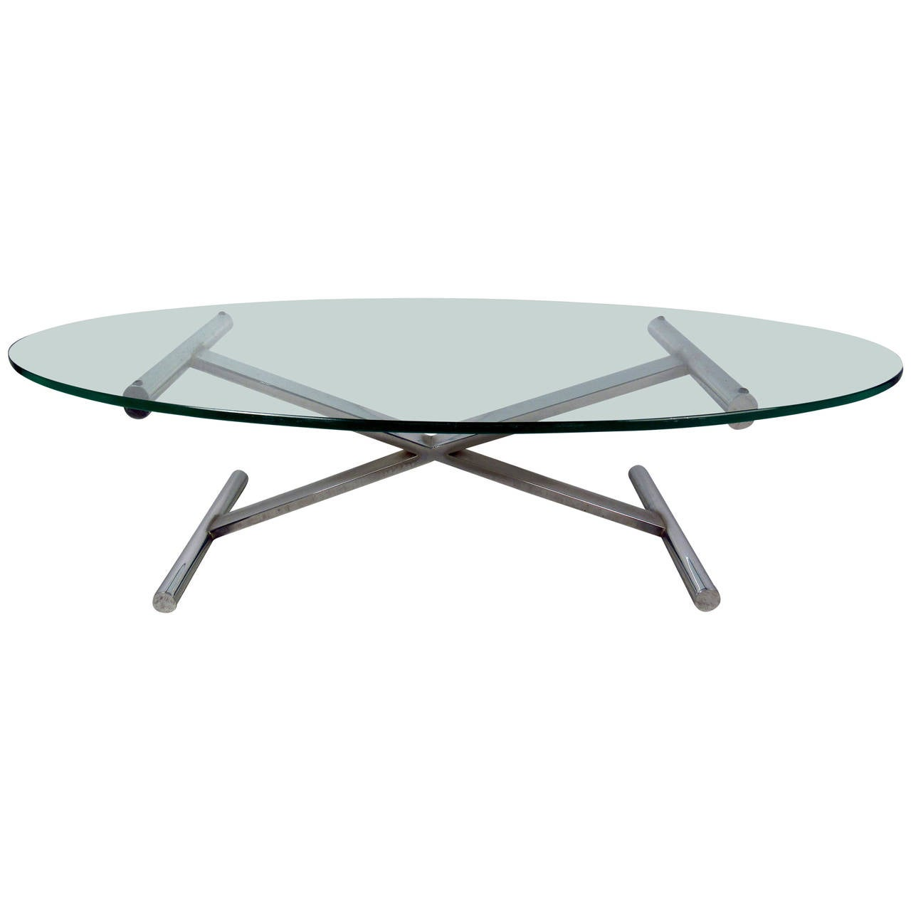 Oval shaped glass top coffee table with chrome base for sale at 1stdibs Glass coffee table base