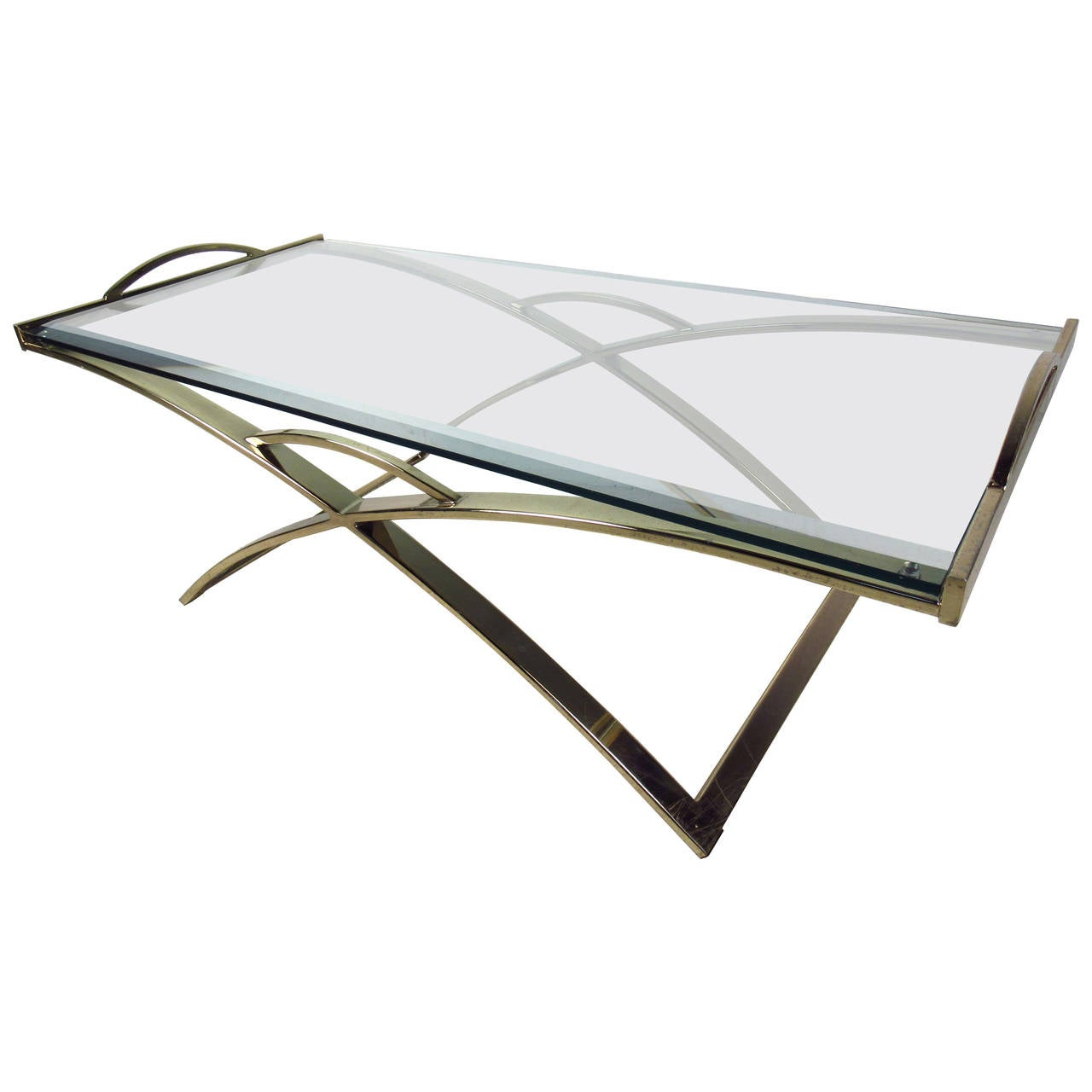 Mid Century Modern Brass Plated Coffee Table With Beveled Glass Top For Sale At 1stdibs