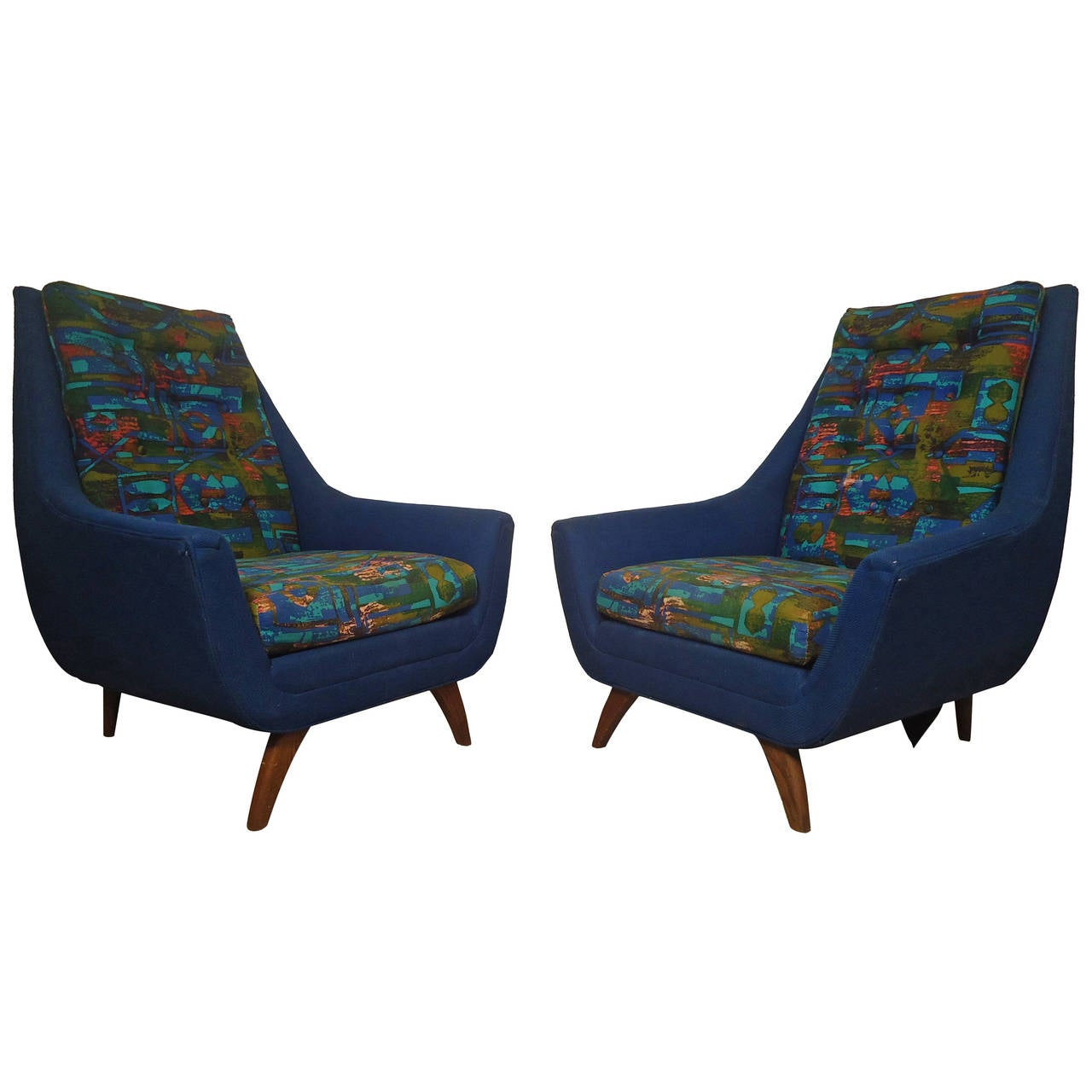 Midcentury Pair of Upholstered Adrian Pearsall Lounge Chairs