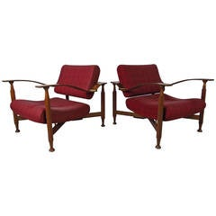 Pair of Sculpted Teak Midcentury Upholstered Lounge Chairs