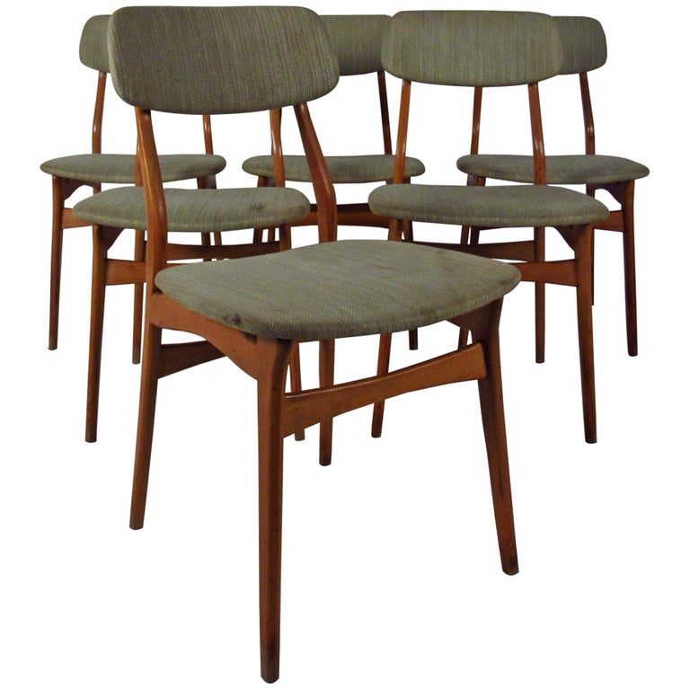 Set of Six Mid-Century Upholstered Teak Dining Chairs