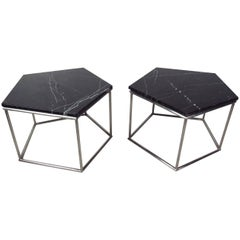 Pair of Mid-Century Marble-Top Side Tables