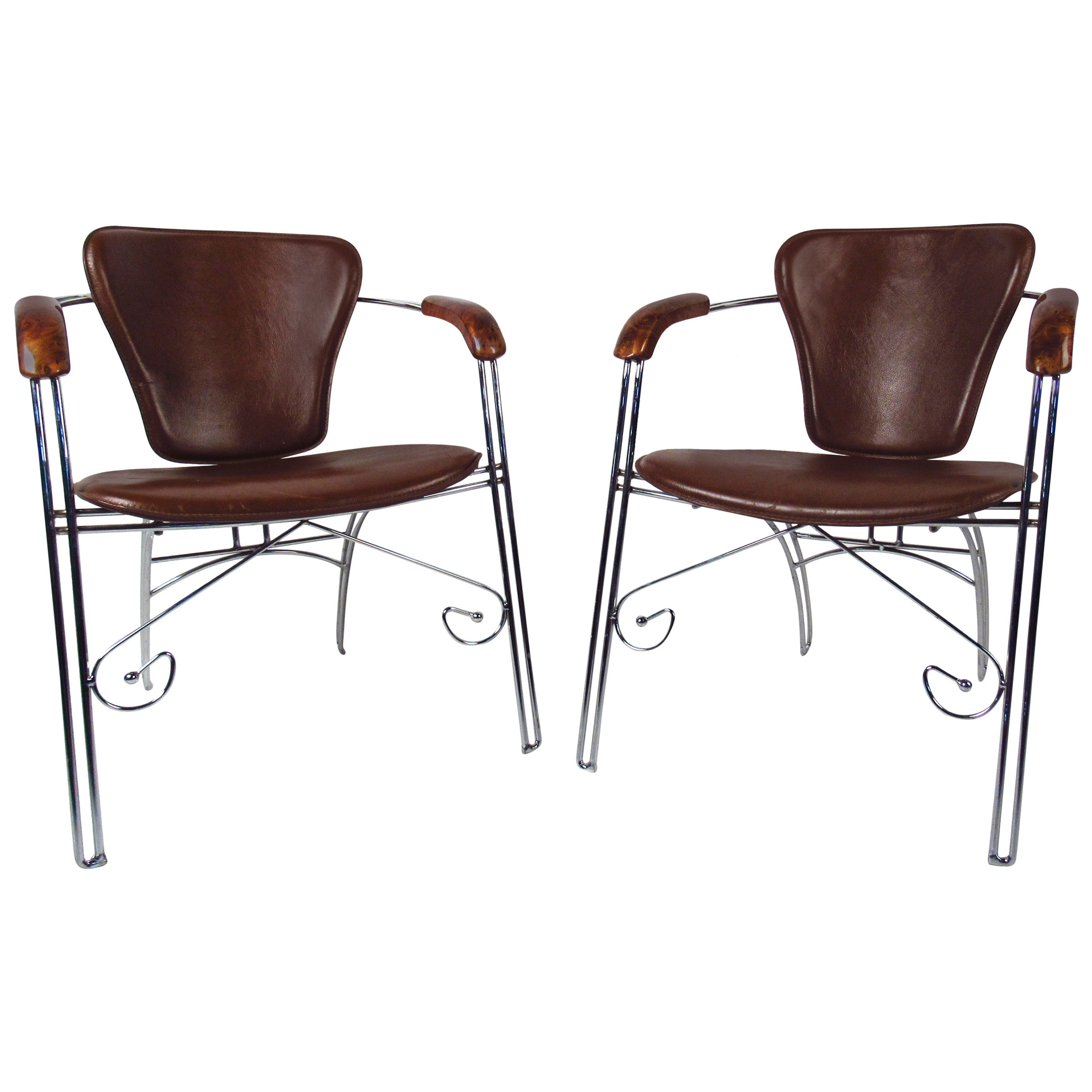 Vintage Modern Leather and Chrome Chairs