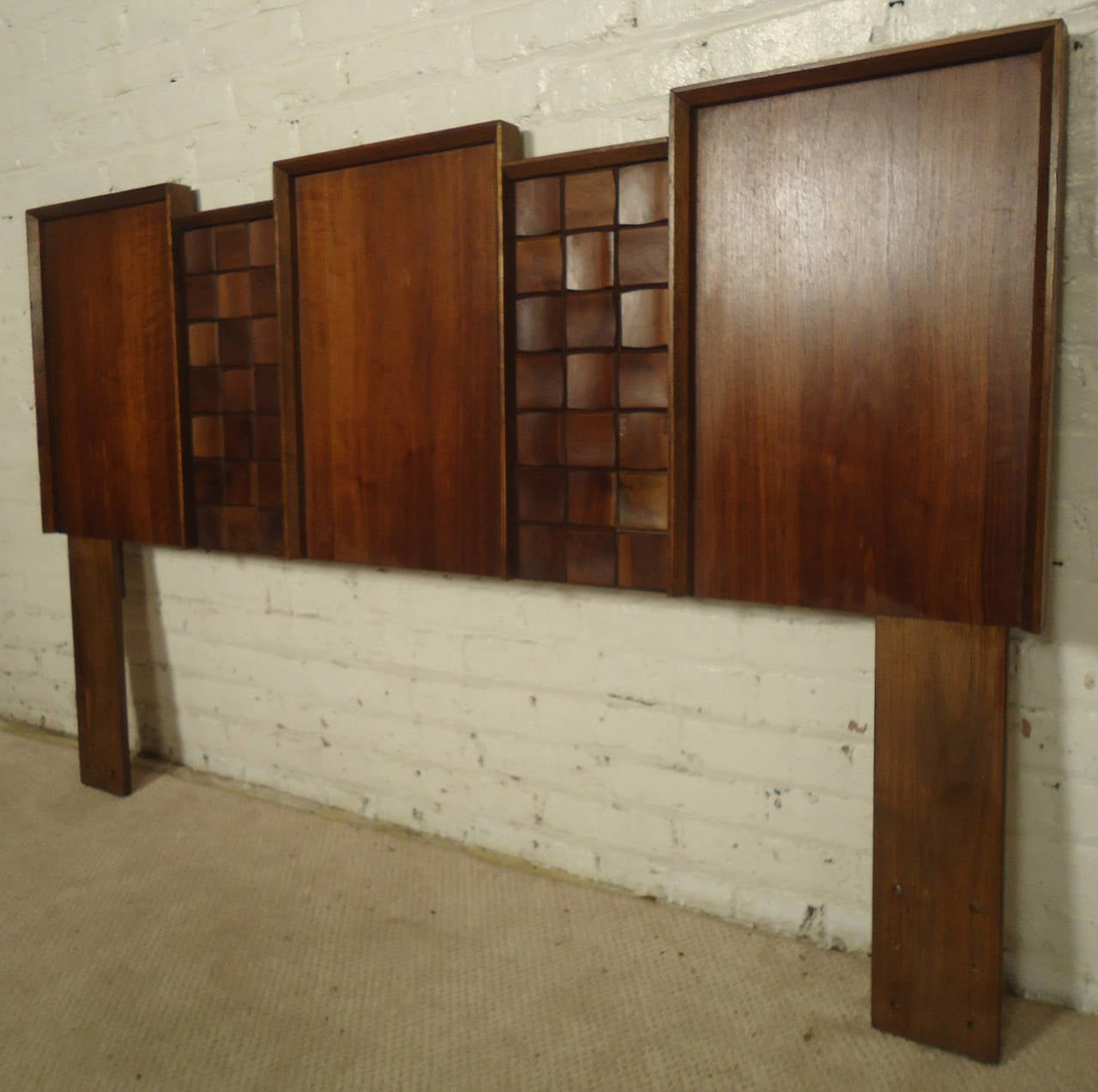 Mid-20th Century Midcentury American Made Sculpted Walnut Headboard For Sale