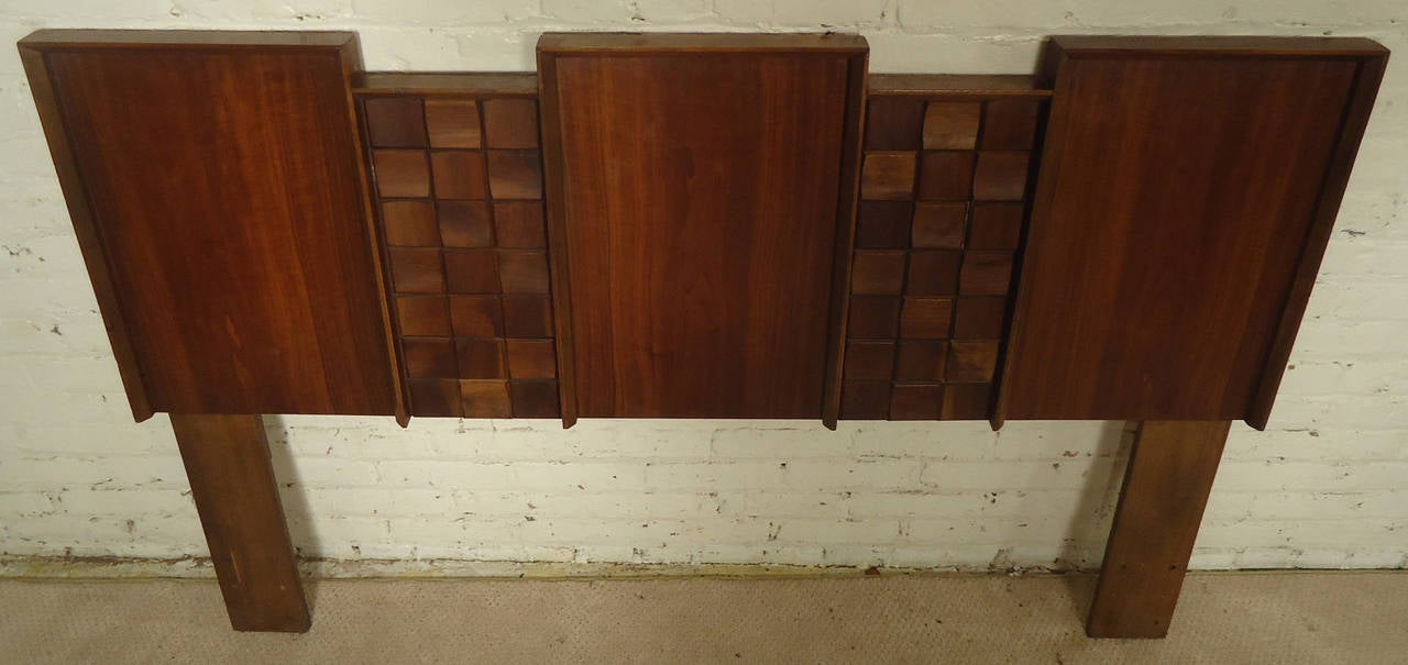 Midcentury American Made Sculpted Walnut Headboard In Good Condition For Sale In Brooklyn, NY