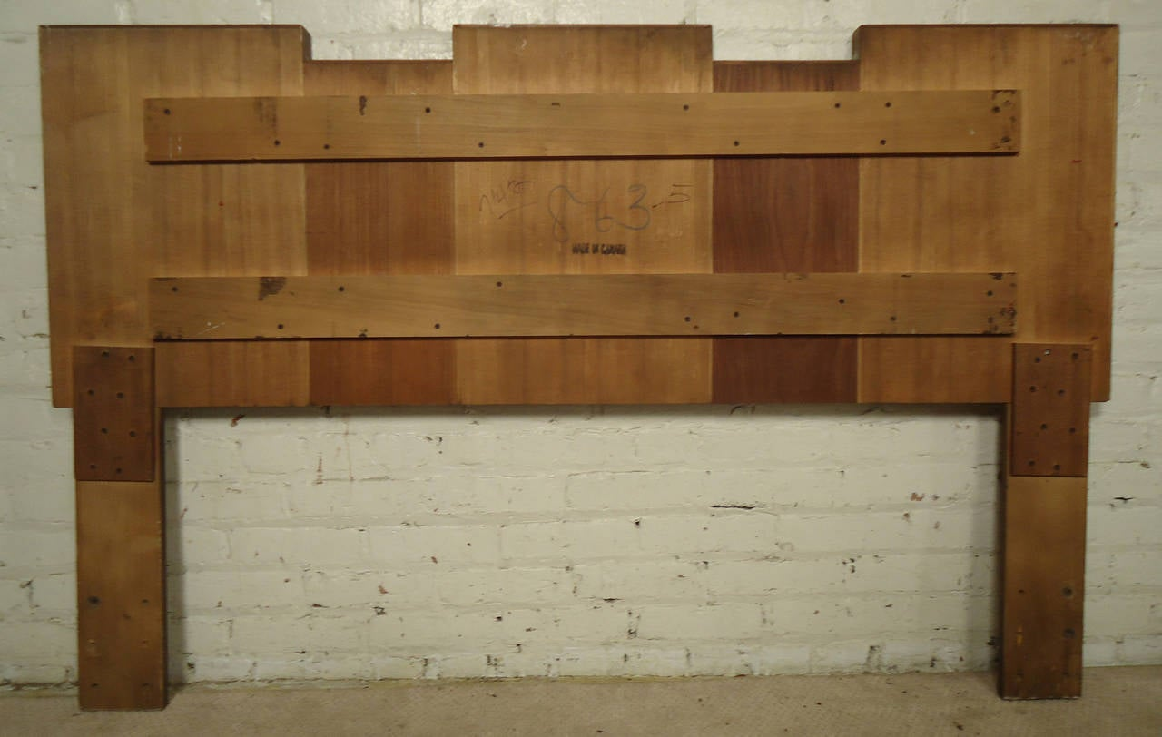 Midcentury American Made Sculpted Walnut Headboard For Sale 3