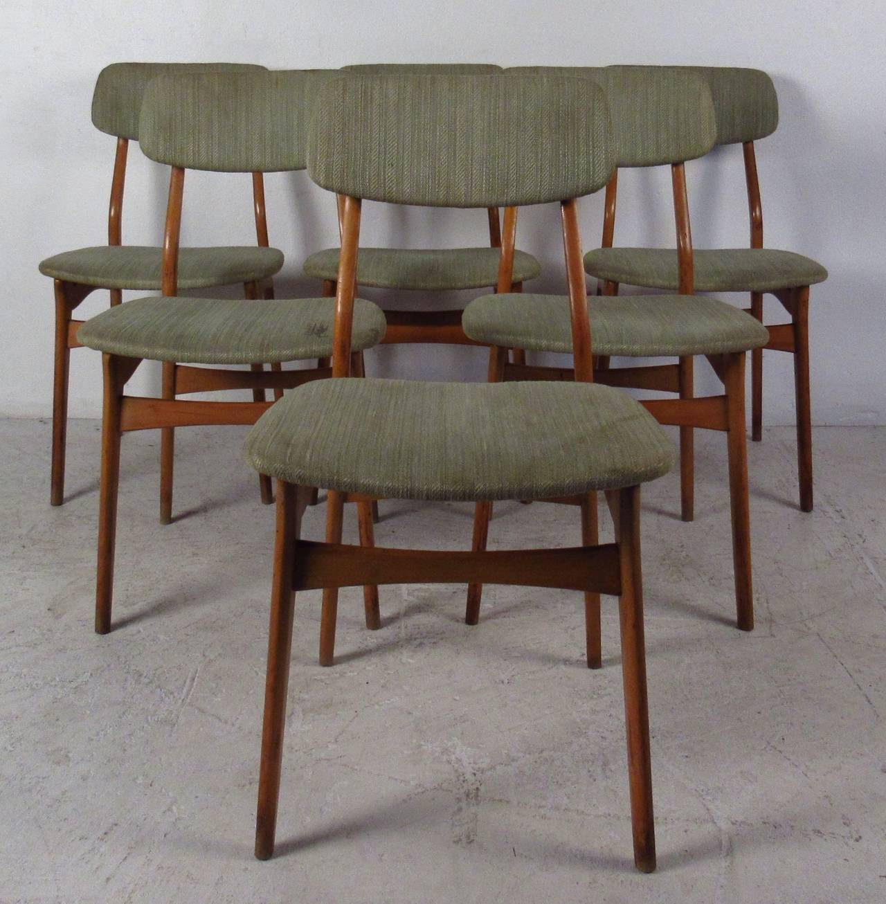 Danish Set of Six Mid-Century Upholstered Teak Dining Chairs