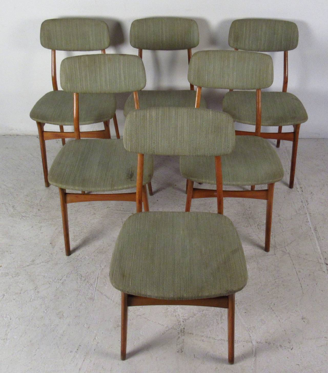 Mid-Century Modern Set of Six Mid-Century Upholstered Teak Dining Chairs