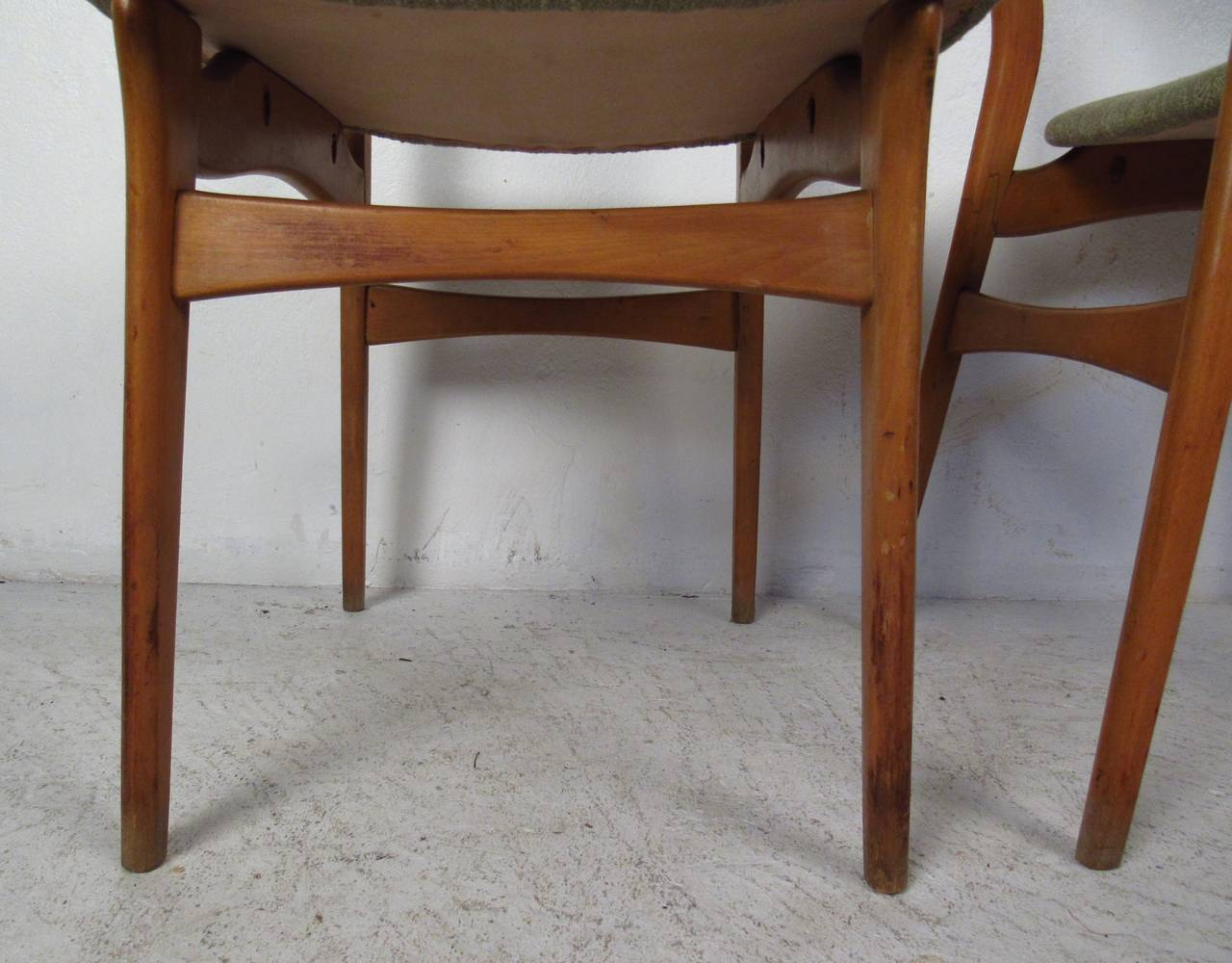 Mid-20th Century Set of Six Mid-Century Upholstered Teak Dining Chairs