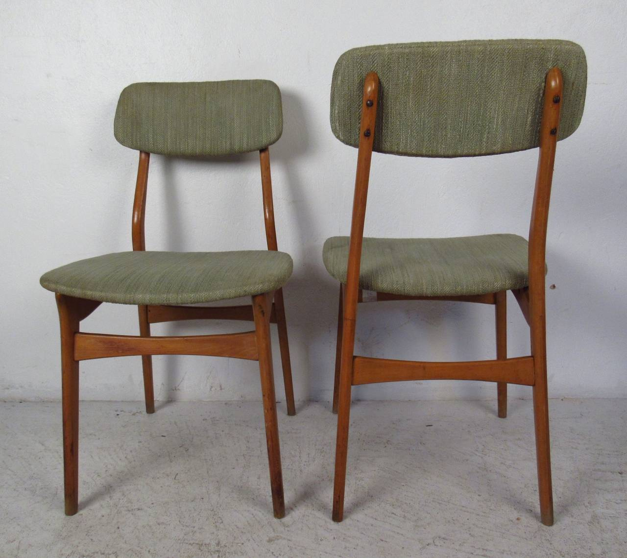 Set of Six Mid-Century Upholstered Teak Dining Chairs 1