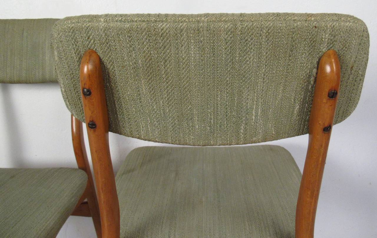 Set of Six Mid-Century Upholstered Teak Dining Chairs 2