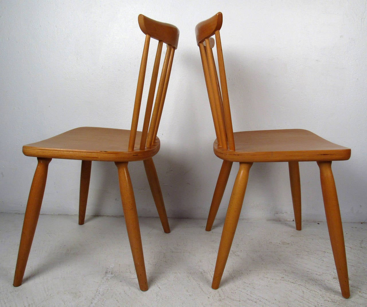 Mid Century Pair Of Paul McCobb Style Maple Dining Chairs For Sale At 1stdibs