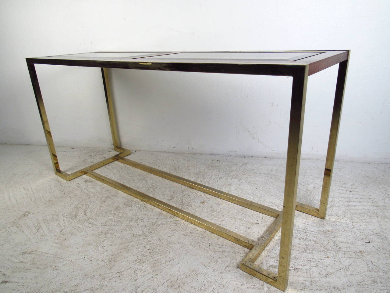 Mid-Century Modern Brass and Walnut Console Table with Smoked Glass