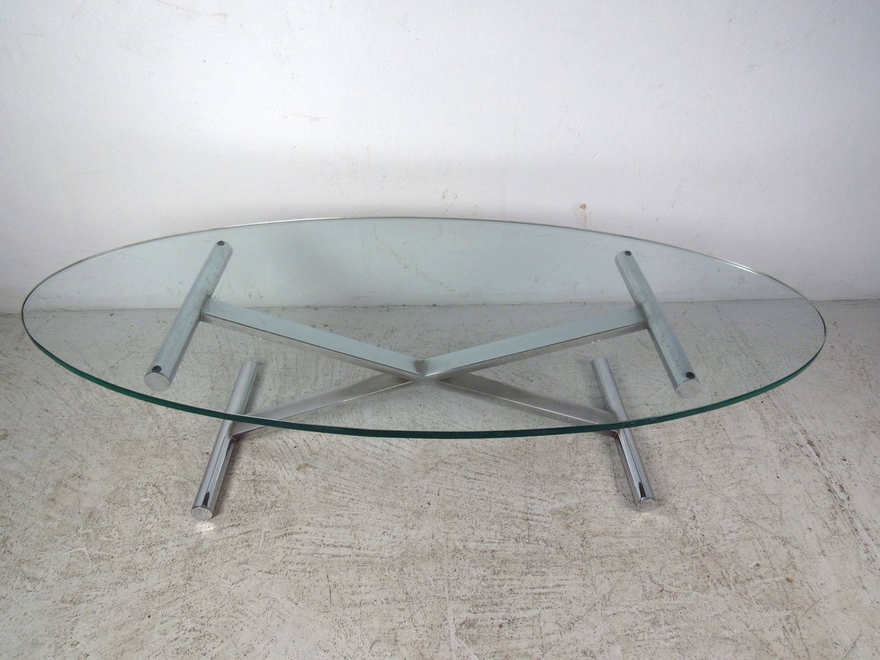 Oval Shaped Glass Top Coffee Table With Chrome Base For Sale At 1stdibs