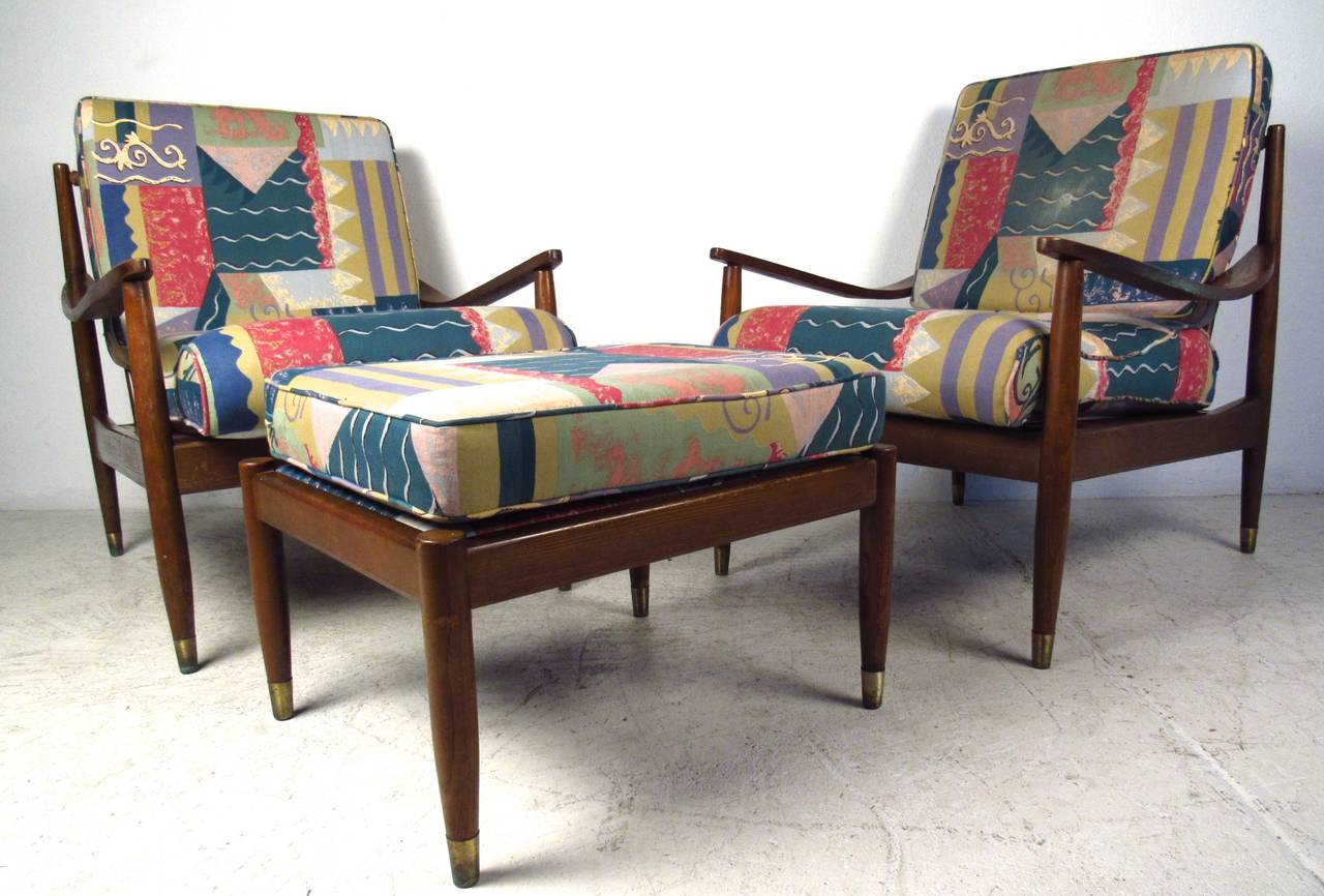 Pair of mid century modern lounge chairs with matching for Matching lounge furniture
