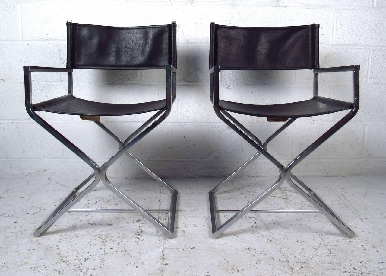 Mid Century Modern Set Of Chrome And Leather Director Style Chairs By Virtue