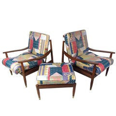 Pair of Mid-Century Modern Lounge Chairs with Matching Ottoman