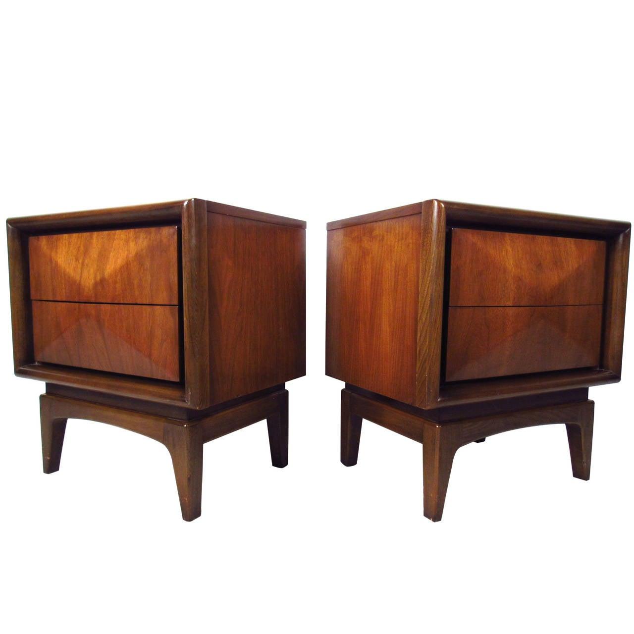 pair of midcentury modern diamond front kagan style nightstands  - pair of midcentury modern diamond front kagan style nightstands