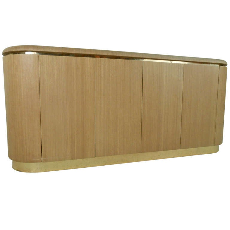 Springer Style Grass Cloth Credenza At 1stdibs
