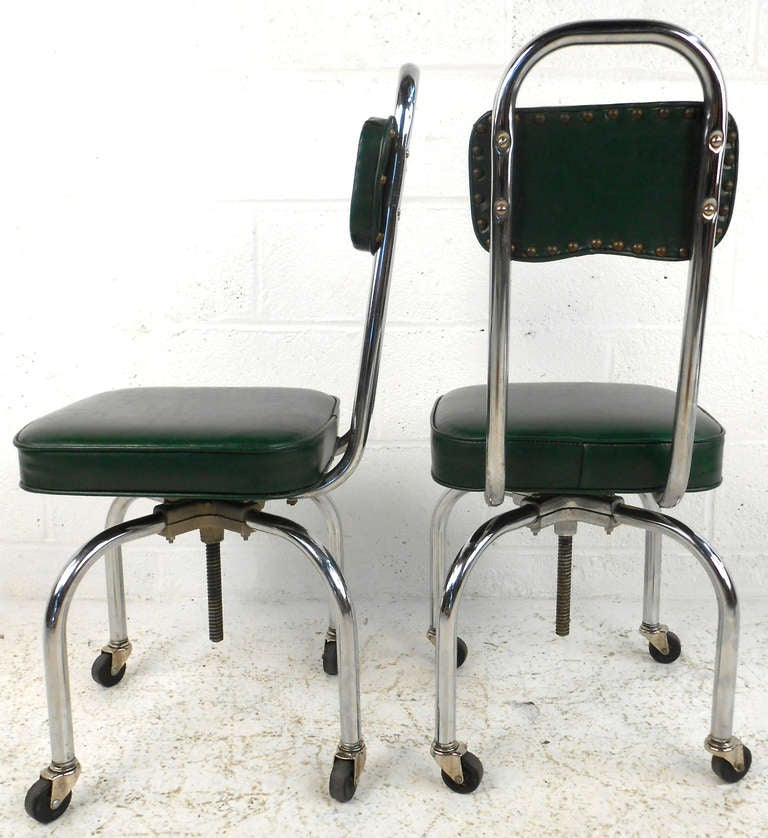 Unique Pair Of Rolling Swivel Lab Chairs For Sale At 1stdibs