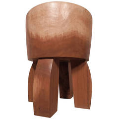 Mid-Century Style Solid Wood Stool