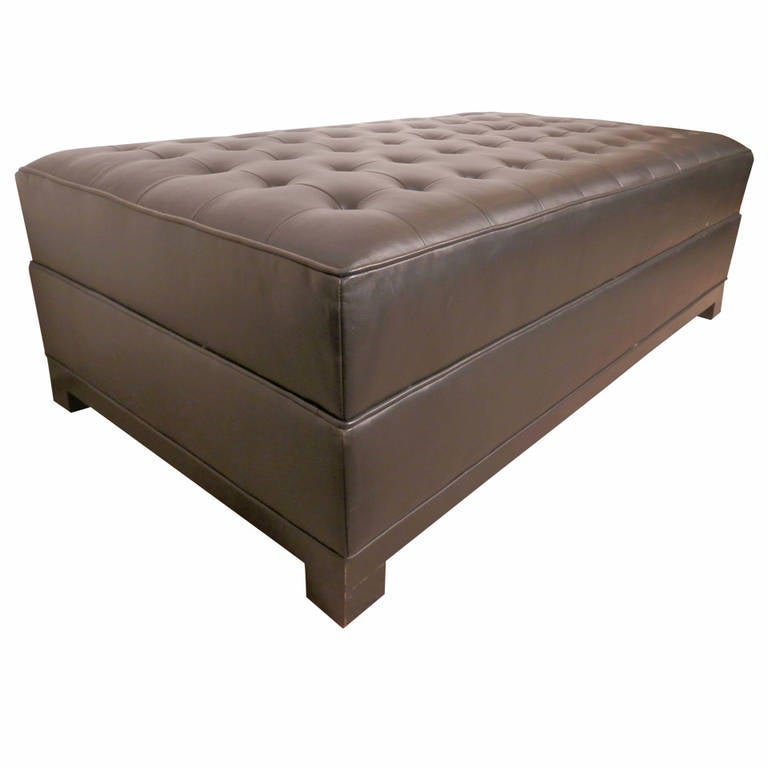 mid century style large black leather ottoman for sale at 1stdibs. Black Bedroom Furniture Sets. Home Design Ideas
