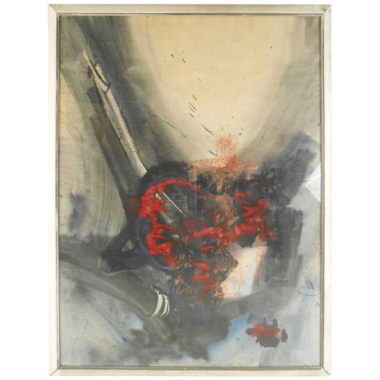 Vintage Watercolor Painting, Abstract Wall Art