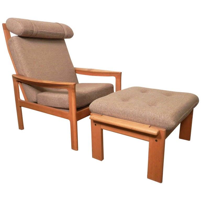 Hans Wegner Inspired Mid-Century Chair and Ottoman