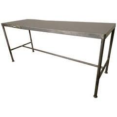 Long Factory Table w/ Double Sided Work Shelf