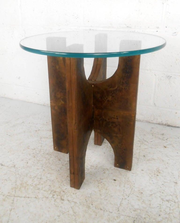 Unique mid century paul evans style patchwork end table at for Unique end tables