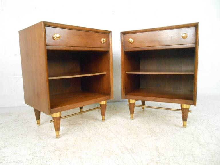 American walnut mid century end tables by national for Mid century american furniture