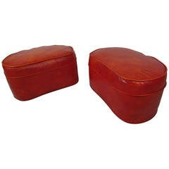 Pair of Mid-Century Modern Red Vinyl Ottomans
