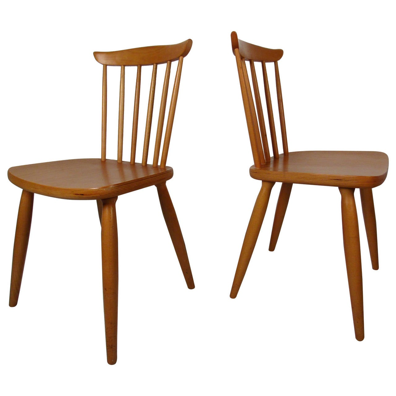 Mid Century Pair Of Paul McCobb Style Maple Dining Chairs For Sale